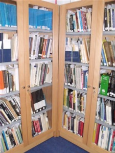 A cabinet full of books in the new Archive reading Room