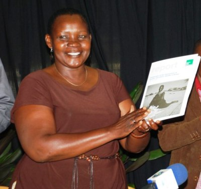 Jennipher Atieno at the launch of our report 'Challenges at the intersection of gender and ethnic identity' in December 2012 in Nairobi, Kenya