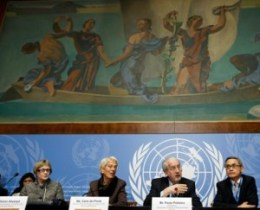 Members of the commission of inquiry on Syria at a press conference in Geneva. © Salvatore di Nolfi /EPA